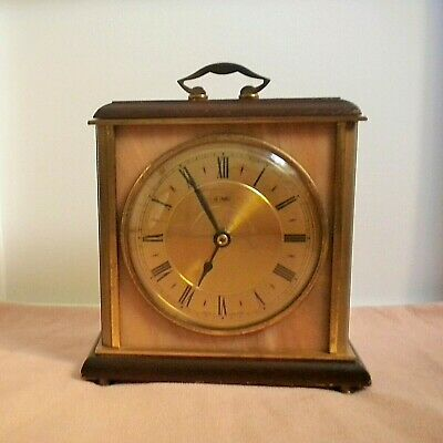 Collectible mid-century vintage Metamec carriage clock. Brass and marble onyx