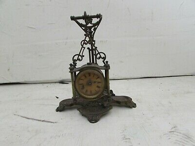 Rare Late 19th Century Ansonia Novelty 1-Day Hanging Brass Desk Clock With Tray