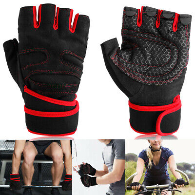 Gym Workout Weight Lifting Body Building Training Fitness Mitt Gloves with Strap