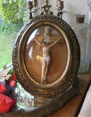 SUPERB ANTIQUE FRENCH DOMED GLASS  DIORAMA ~ CROSS /CRUCIFIX JESUS CHRIST 1800's