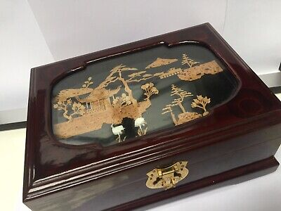 Vintage Large Chinese Jewellery Box Cork Hand Made 3D Picture Lid