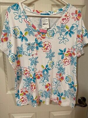 NWT Fresh Produce White Blue Pink Floral Design V Neck Cotton Top Size 2X