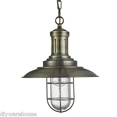 Searchlight 5401Ab Superb Quality Fisherman Antique Brass Ceiling Light. Bnib