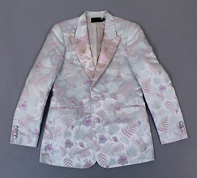 Asos Men's Slim Suit Jacket w/ Cut and Sew Floral Jacquard AN3 Pink Size 38 NWT