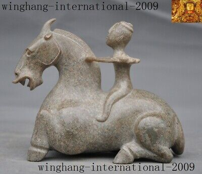 """5""""Chinese antique Hetian jade jadeite Hand-carved people ride Tang horse statue"""
