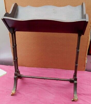 Vintage Solid Walnut Book Stand with Nice Brass Feet