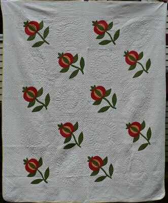 """Red and Green Appliqued Antique Quilt, """"Love Apple"""" Well Quilted #18651"""