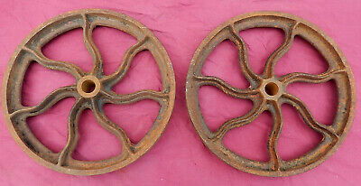 """Pair Antique 19th Century Fancy Cast Iron Factory Cart or Other 12"""" Wheels"""