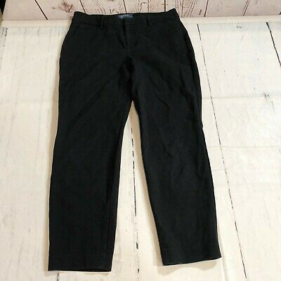 Old Navy Women Harper Mid-Rise Pants Size 4 Regular Black Cropped Capri C155