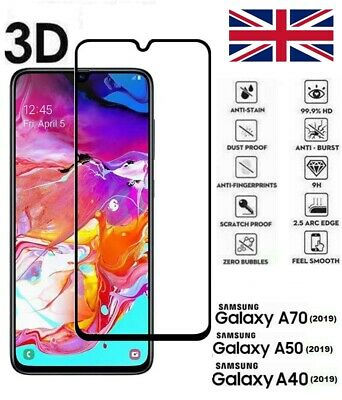 For Samsung Galaxy A40 A50 A70 (2019) Tempered Glass Screen Protector Black Edge
