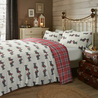 Fusion Scottie Dog Christmas Reversible Brushed Cotton Duvet Cover Set, Multi
