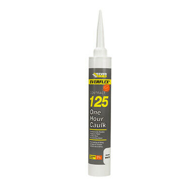 PACK OF 12 EverBuild Everflex White 125 C4 One Hour Decorators Caulk LARGE 380ml