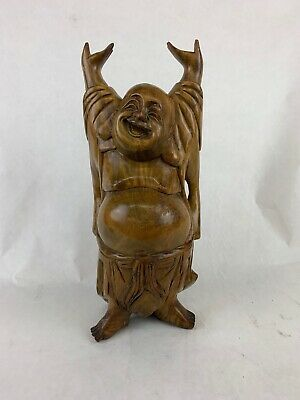 Vintage Chinese Hand Carved Hardwood Laughing Buddha Hands Up Statue Sculpture
