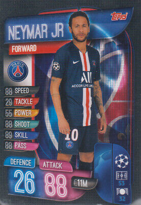Topps Match Attax Champions League 19 20 2019 2020 PSG10  Neymar Jr Basis Karte