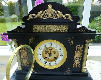 Slate Mantel clock visible escapement/Brocot  Striking in  fabulous condition