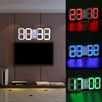 USB 3D Digital LED Table Wall Clock Snooze Alarm Clock Brightness Auto Adjust