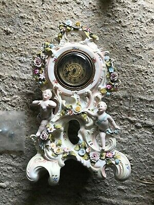 Antique Painted Porcelain, Ornate Cased Mantle Clock Some Damage