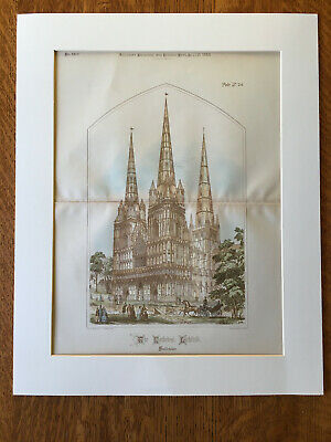 Cathedral Litchfield, Staffordshire, England, UK, 1888, Original Hand Colored