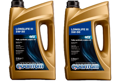10 Litres Quantum Longlife 3 5W-30 Fully Synthetic Engine Oil 2x 5 Litre Bottles