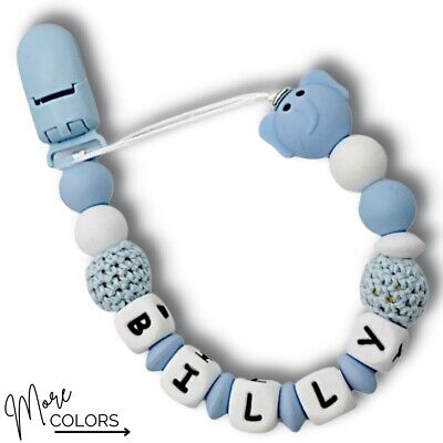 Personalized Dummy Clip Silicon Bead Pacifier Holder ~ Baby Boy Girl ~ Elephant