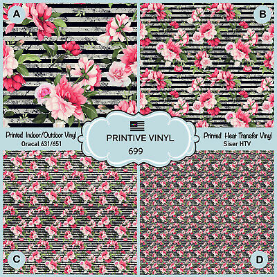 Pineapples and Tropical Flowers Pattern Printed HTV,Adhesive Vinyl-125