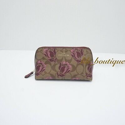 NWT Coach F76899 Cosmetic Case 17 Travel Makeup Pouch Canvas Khaki Pink Multi 98