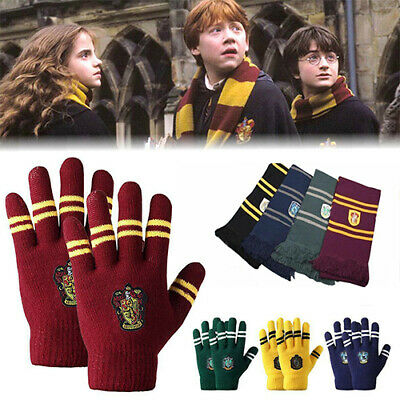 Harry Potter Hat + Scarf + Gloves Gryffindor/Slytherin/Hufflepuff Xmas Cospaly