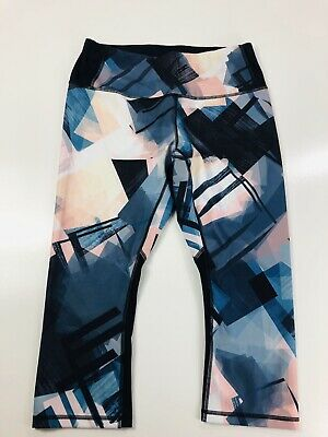 Lucy Activewear Capri Pants, Cropped, Geometric Print, Large (L) Pink Blue Black