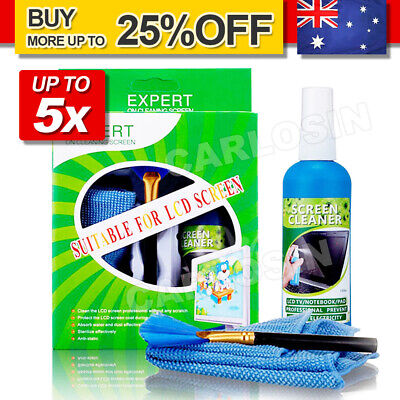 UP 5X 3in1 Laptop Cleaning Kit Monitor TV PC LED LCD Screen Cleaner Cloth Brush