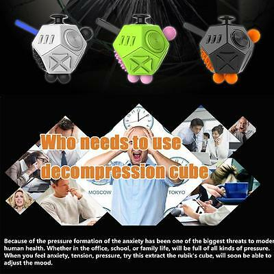 12 Side Fidget Cube Desk Toy Stress Anxiety Relief Focus Puzzle For Adults Kids