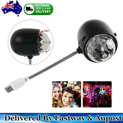 Mini USB RGB Party Disco LED Stage Effect Light Lamp Laser Crystal Magic Ball AU