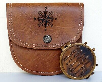 Antique Brass Navigation Compass Marine Maritime Compass With Leather Case Gift