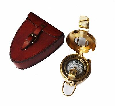 Solid brass golden maritime military compass with handmade leather box case gift