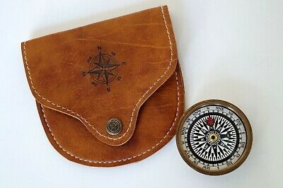 Brass Maritime Antique Pocket Compass 2 inch w/ Handmade Leather Case Great Gift