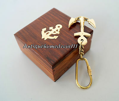 Lot Of 10 Pcs Antique Brass Anchor Key Chain Nautical Maritime With Wooden Box .