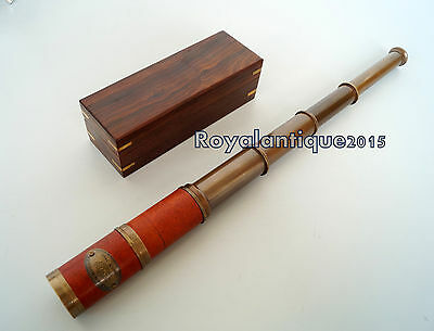 "Nautical  Designer Collectible Beautiful 18"" Solid Brass Telescope W/Wooden Box"