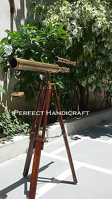 Vintage Nautical Navy Brass Double Barrel Telescope With Wooden Tripod Stand