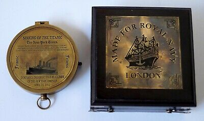 Nautical antique brass vintage sinking of the titanic compass rosewood wood box