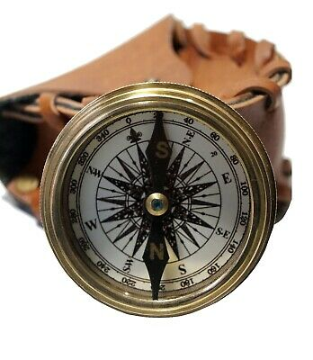 Nautical golden stanley london brass antique flat compass w/ leather case gift