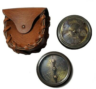 Antique brass maritime vintage 2 inch pocket compass with leather case gift item