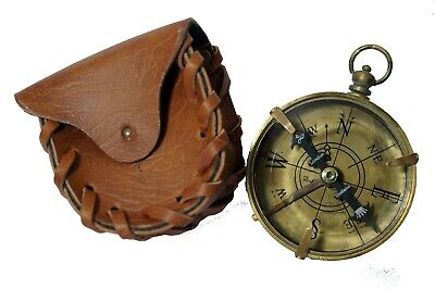 Antique brass maritime pocket flat compass 2 inch with leather case gift item