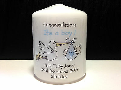 personalised new baby boy candle gift present keepsake blue congratulations