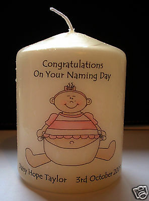 personalised girl naming day ceremony blessing candle gift keepsake present