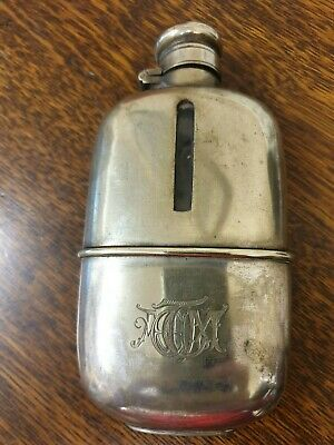 antique silver plate and glass HIP FLASK