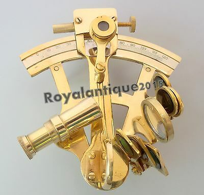 """Brass Nautical Sextant Antique Navigation  Maritime Collectible 4"""" Solid Gift..."""