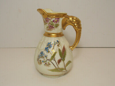 "19th Century Royal Worcester Dresser Aesthetic 6"" Elephant Handle Pitcher"