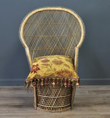 Attractive Vintage Small Canework Peacock Conservatory Easy Chair