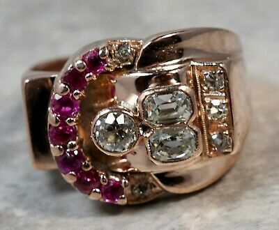 Women's 1930's Art Deco 14K Rose Gold Pink Sapphire .50ctw Diamond Cocktail Ring