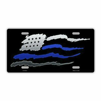 License Plate, Metal Vanity Tag Cover, Waving US Flag, Thin Blue Line, Police