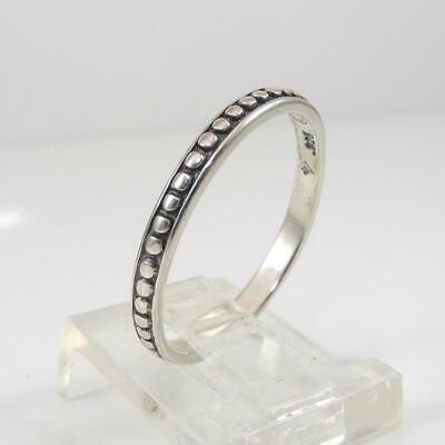 Vintage 925 Sterling Silver Signed SILPADA Simple Band Beaded Size 9 LFJ3